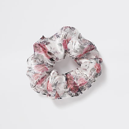 Girls grey floral organza scrunchie
