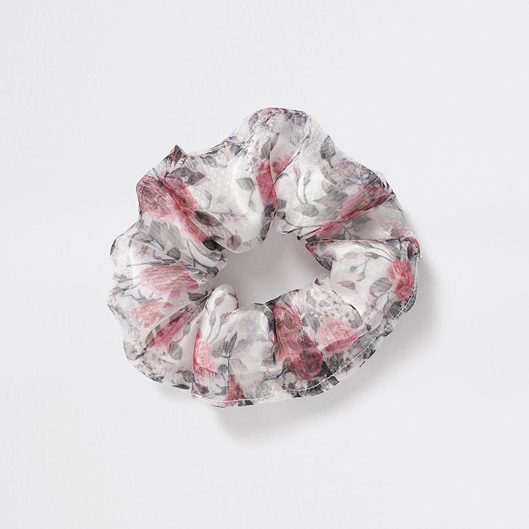 Girls grey floral organza scrunchie