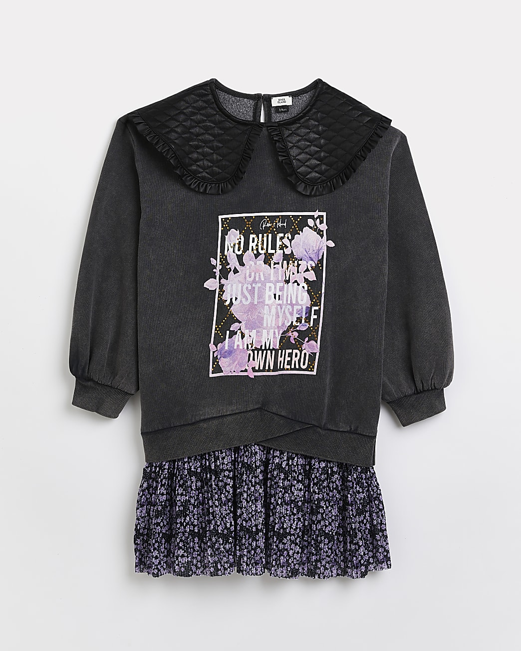 Girls grey floral quilted collar sweat dress