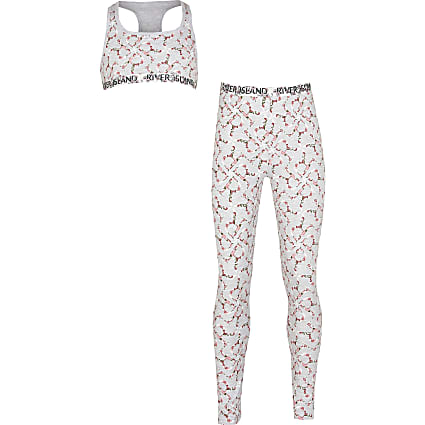 Girls grey floral RI monogram leggings set