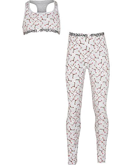 Girls grey floral RI monogram leggings set