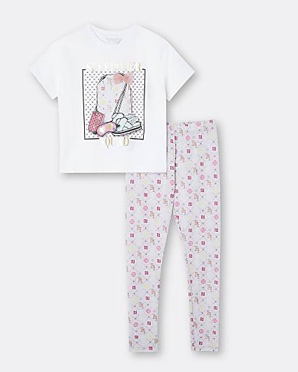 Girls grey graphic print pyjama set