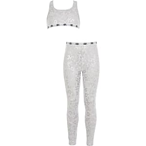 Loungewear-Set mit Crop Top in Grau mit Herzprint