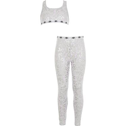Girls grey heart crop top loungewear set