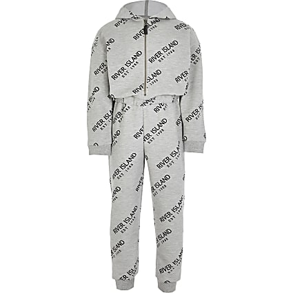 Girls grey hooded jumpsuit