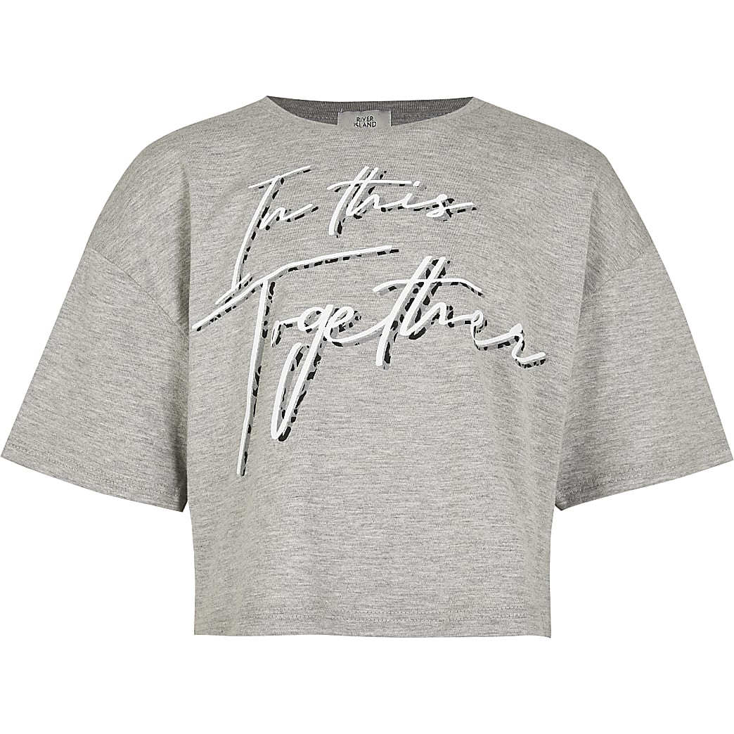 Girls grey 'In this together' t-shirt
