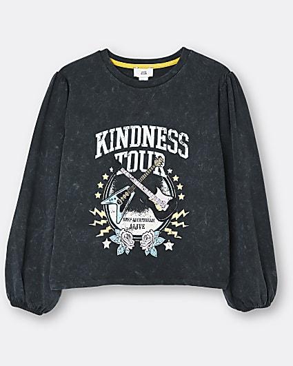 Girls grey 'Kindness Tour' puff sleeve top