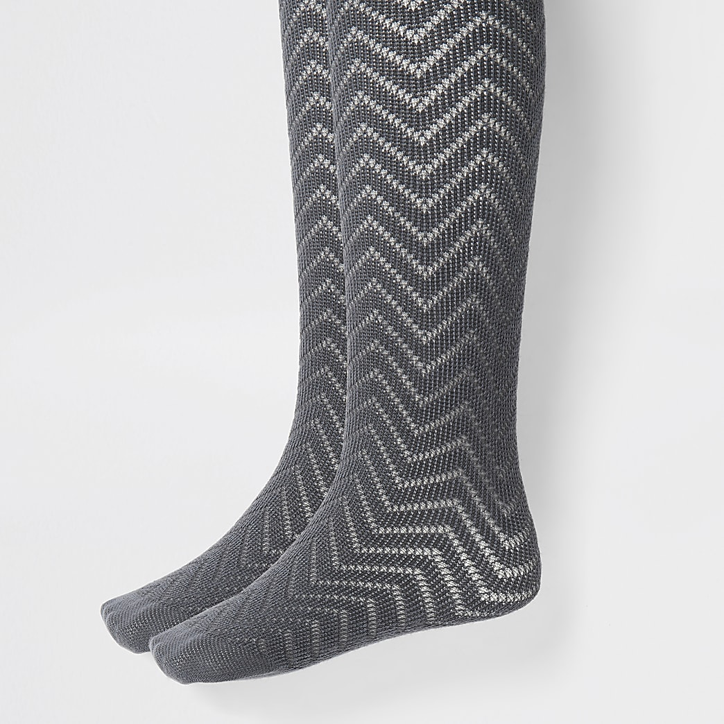 Girls grey knitted tights 2 pack
