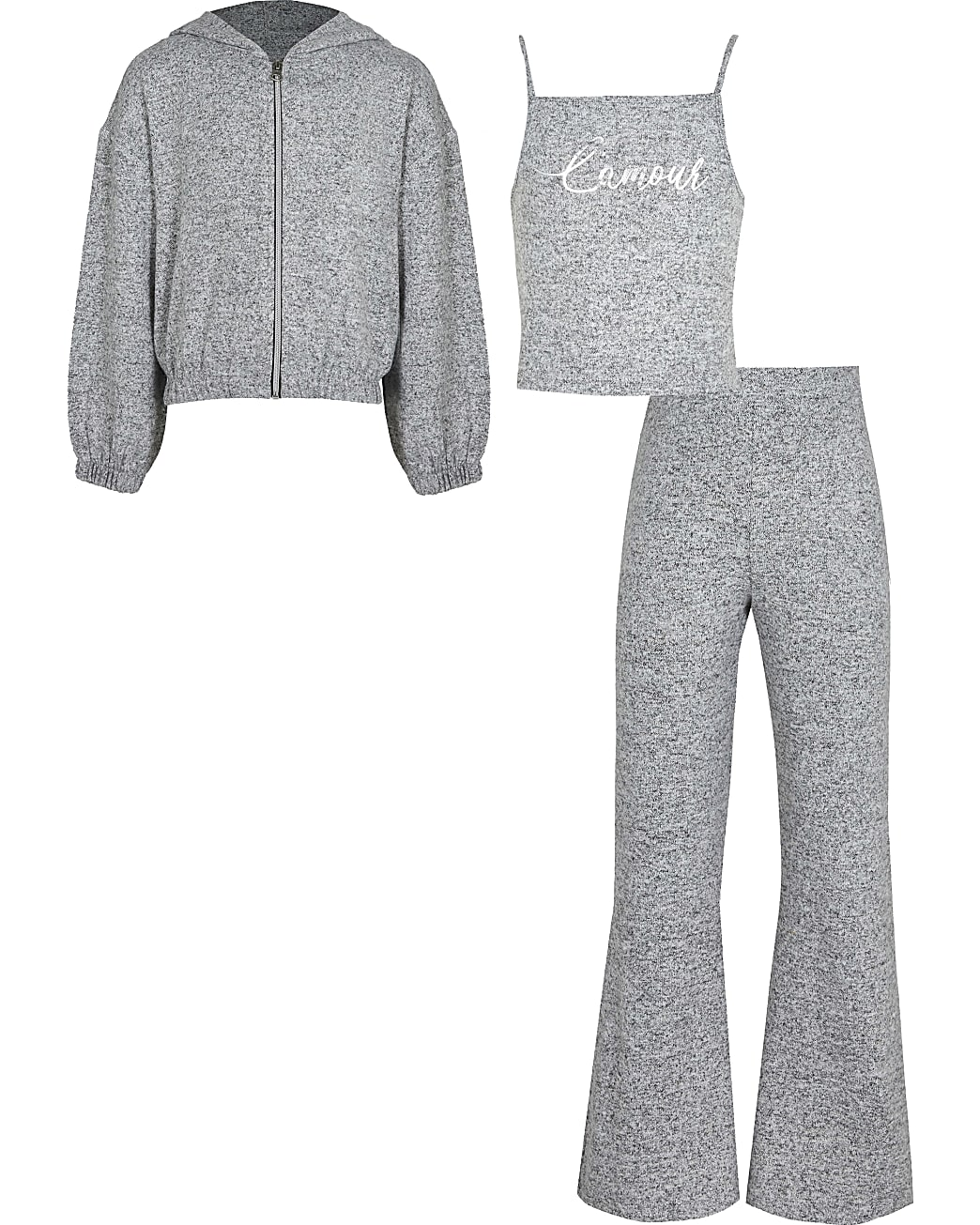 Girls grey 'L'amour' cosy hoodie outfit