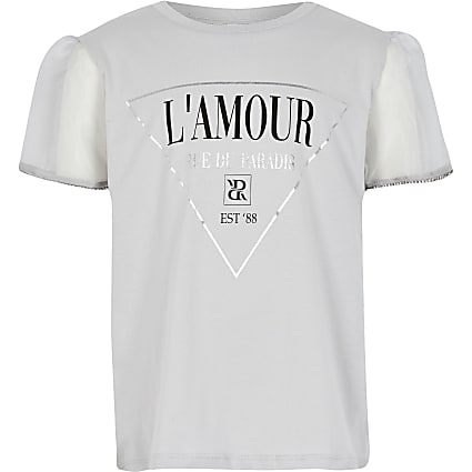 Girls grey 'LAmour' Organza T-shirt