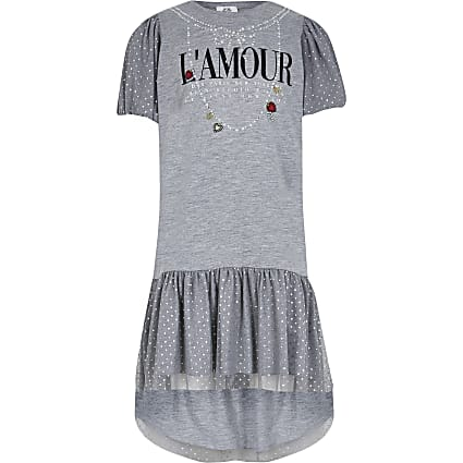 Girls grey L'AMOUR t-shirt dress