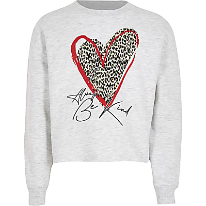 Girls grey leopard heart sweatshirt