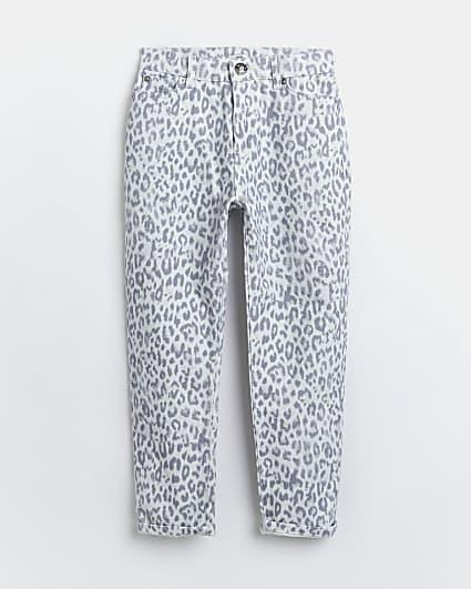 Girls grey leopard print mom jeans