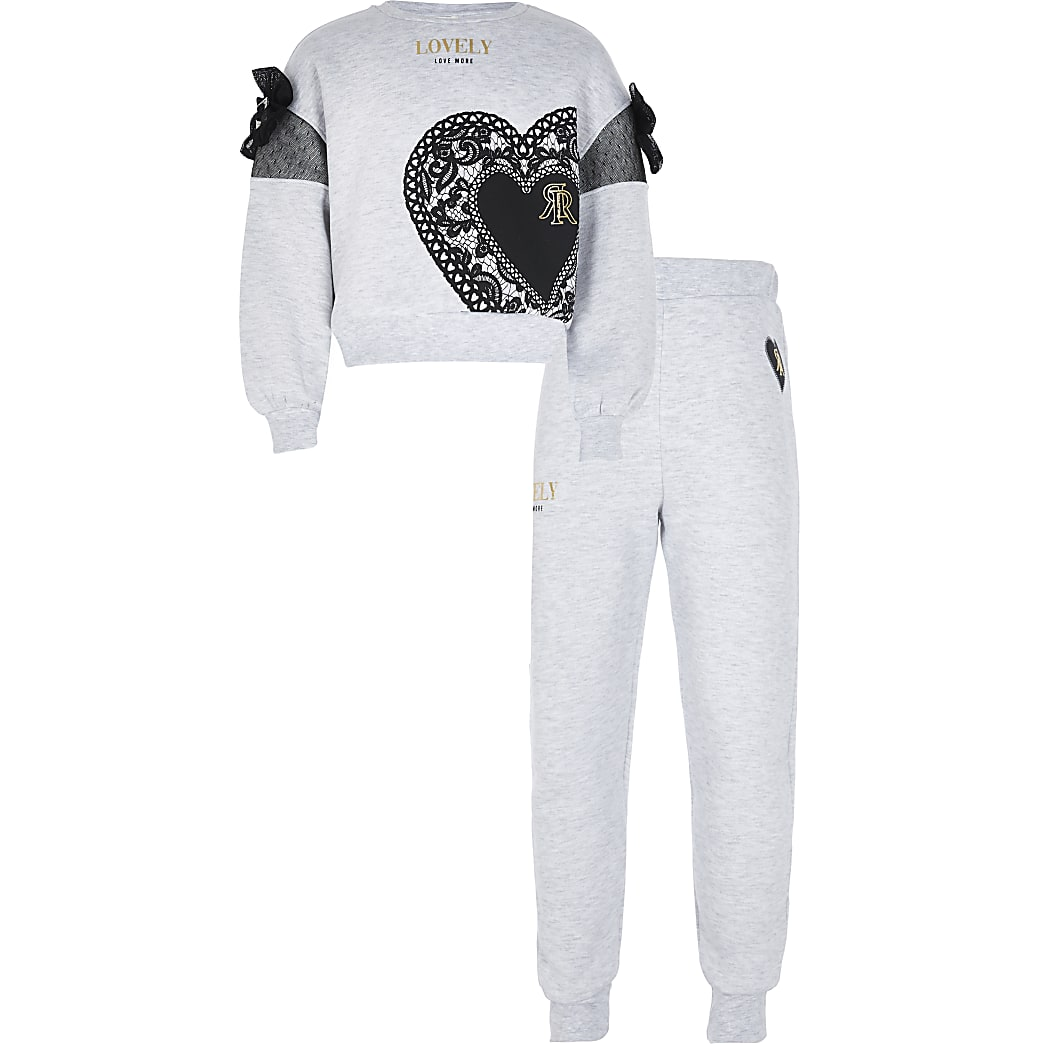 Girls grey 'Lovely' bow sweat outfit