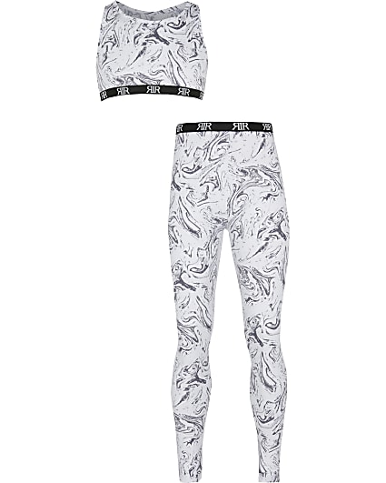 Girls grey marble crop and leggings set