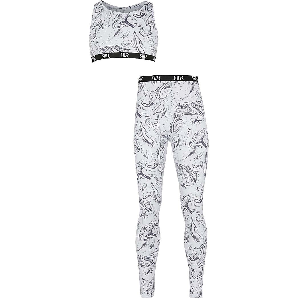 Girls grey marble crop and leggings set