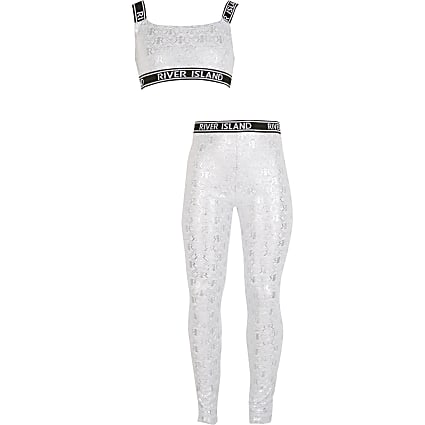 Girls grey monogram crop top loungewear set