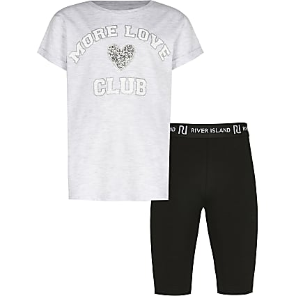 Girls grey 'More Love Club' t-shirt outfit
