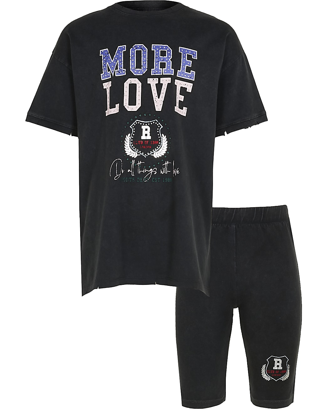 Girls grey 'More Love' t-shirt outfit