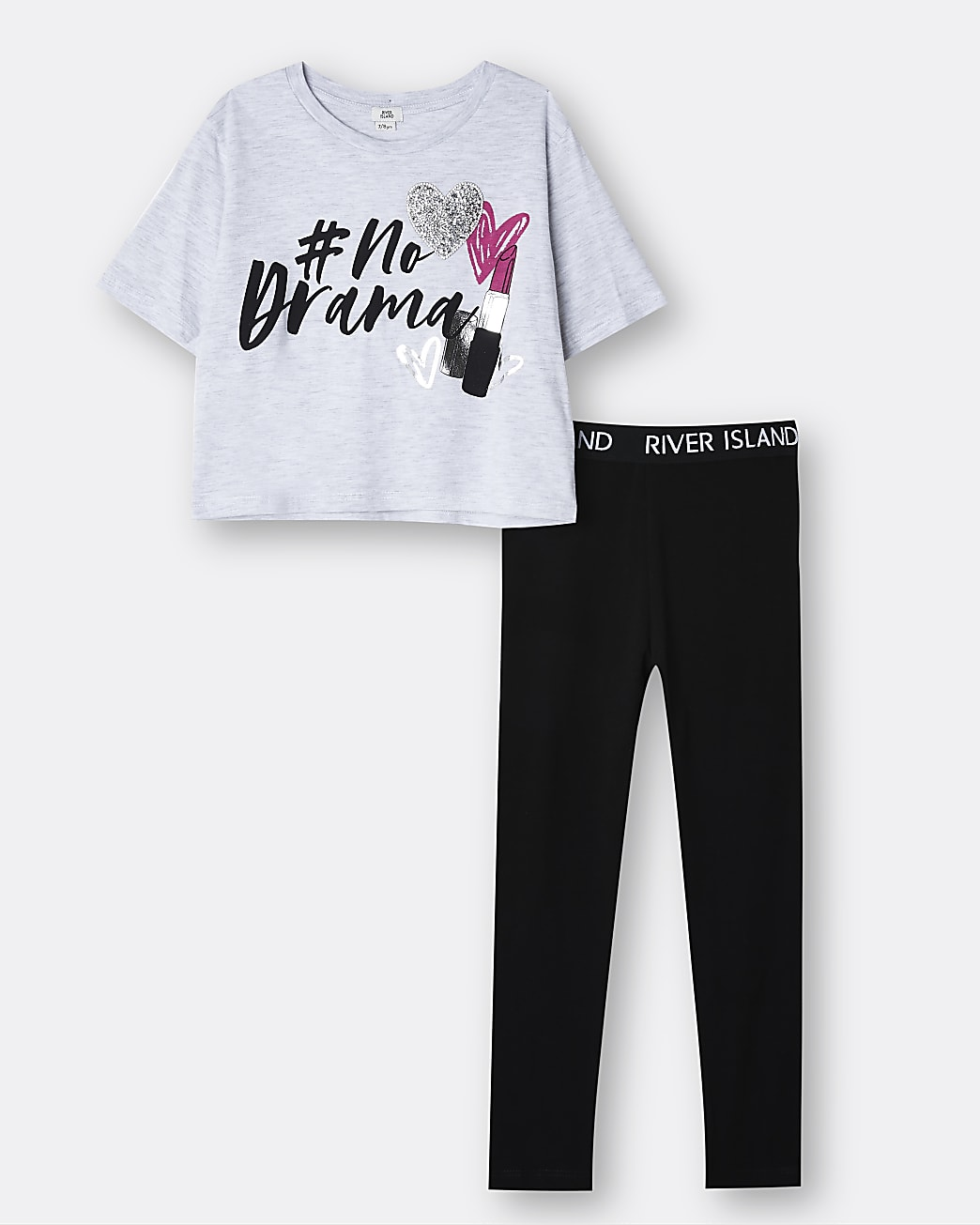 Girls grey 'No Drama' 3D heart t-shirt outfit