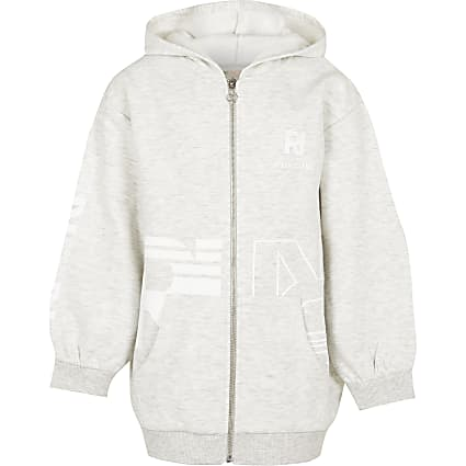 Girls grey oversized RI Active hoodie