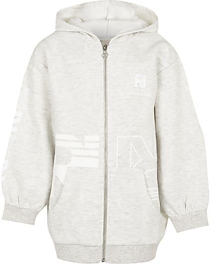 Girls grey oversized RI Active hoodie