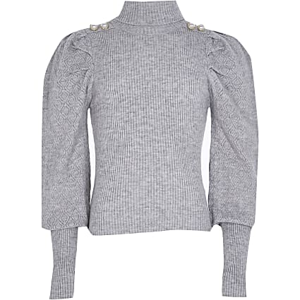 Girls grey pearl button roll neck jumper