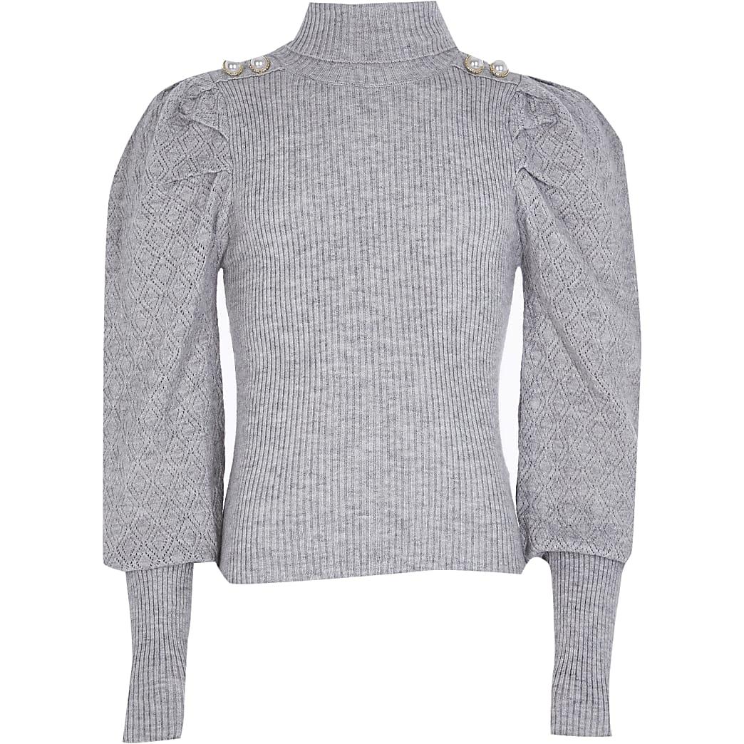 Girls grey pearl button roll neck jumper