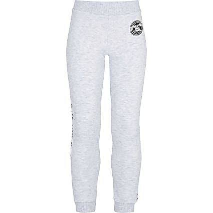 Girls grey Pineapple jacquard joggers
