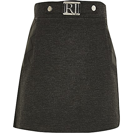 Girls grey ponte PU panel skirt