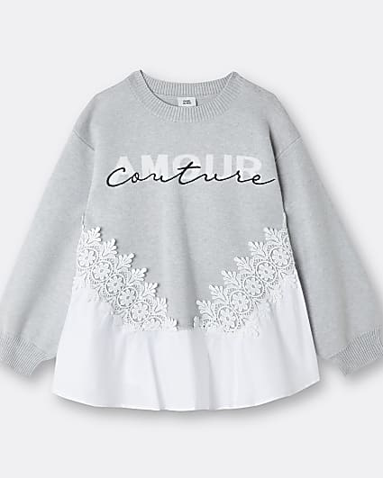 Girls grey Poplin 'Amour Couture' jumper