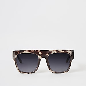 Graue Flat-Top-Sonnenbrille mit Print