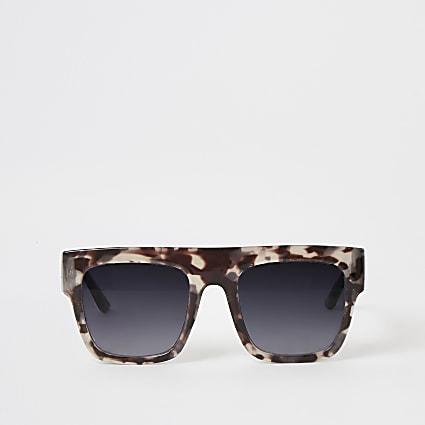 Girls grey printed flat top sunglasses