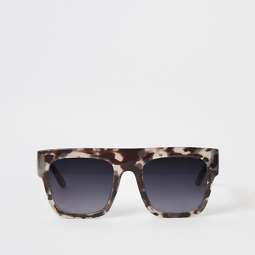 Grijze zonnebril met platte bovenkant en print voor meisjes