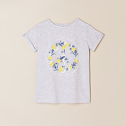 Girls grey 'Protect our planet' peace t-shirt