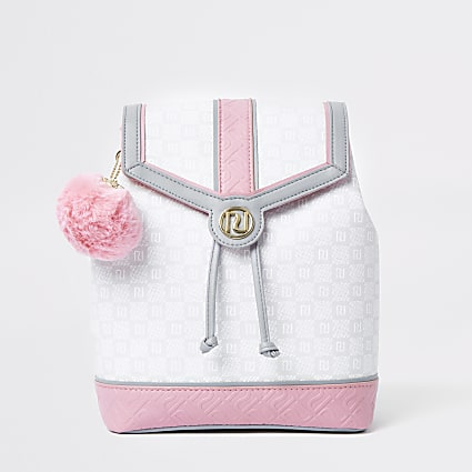 Girls grey pu RI tile print rucksack