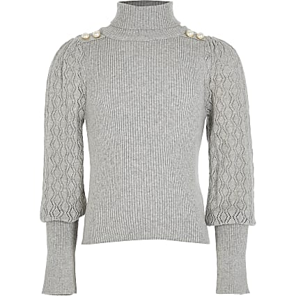 Girls grey puff sleeve roll neck jumper