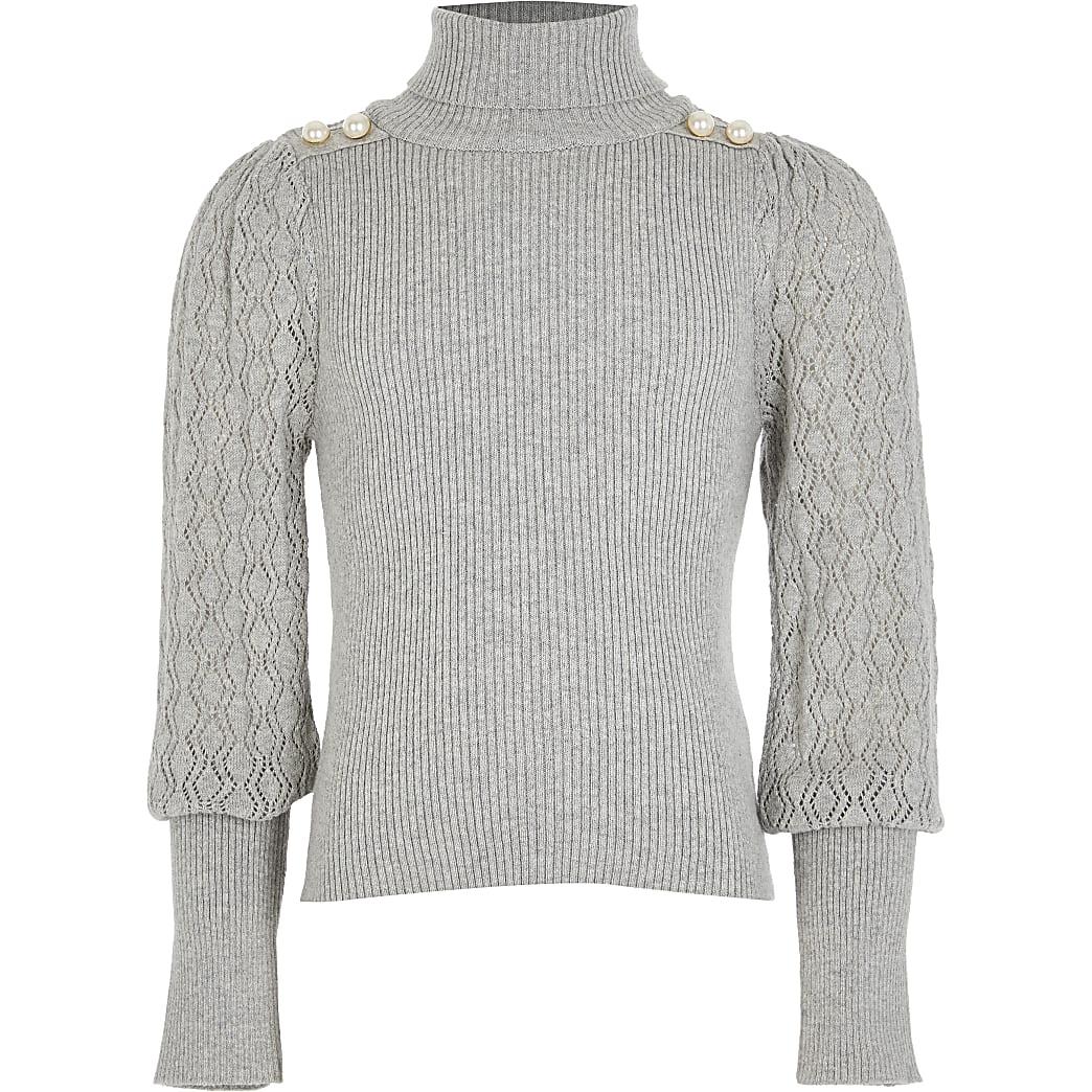 Girls grey puff sleeve roll neck jumper
