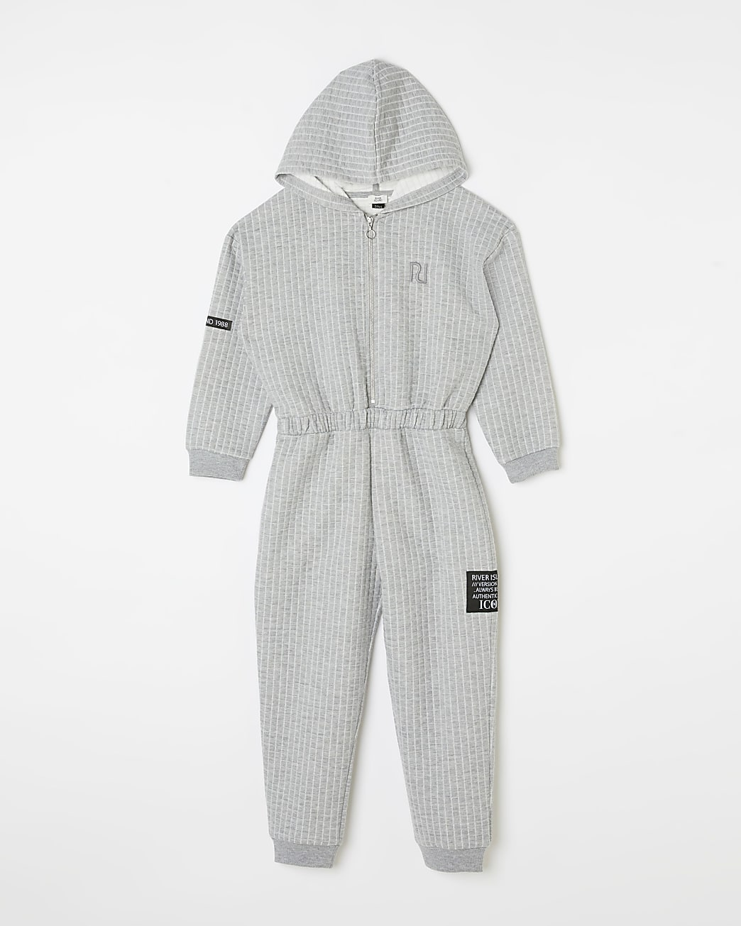 Girls grey quilted cinched hood jumpsuit