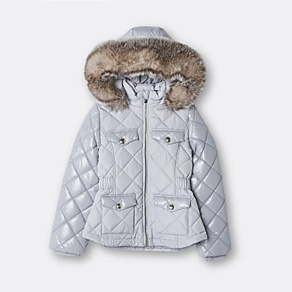 Girls grey quilted puffer hooded coat