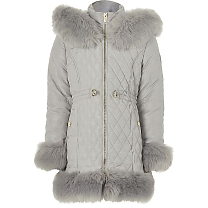 Girls grey quitled faux fur trim padded coat