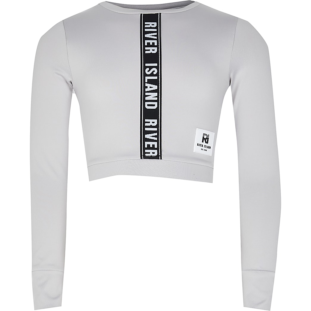 Girls grey RI Active crop top