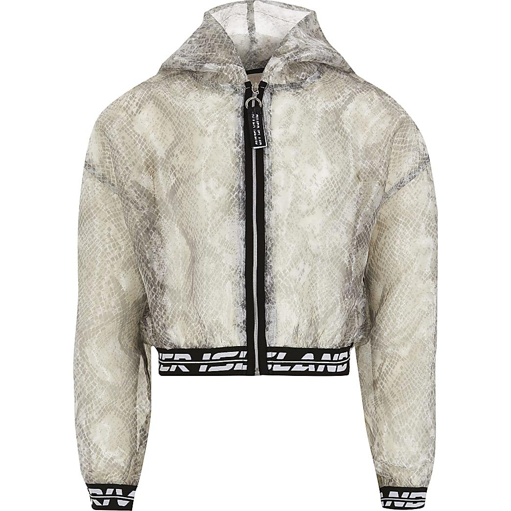 Girls grey RI Active organza bomber jacket
