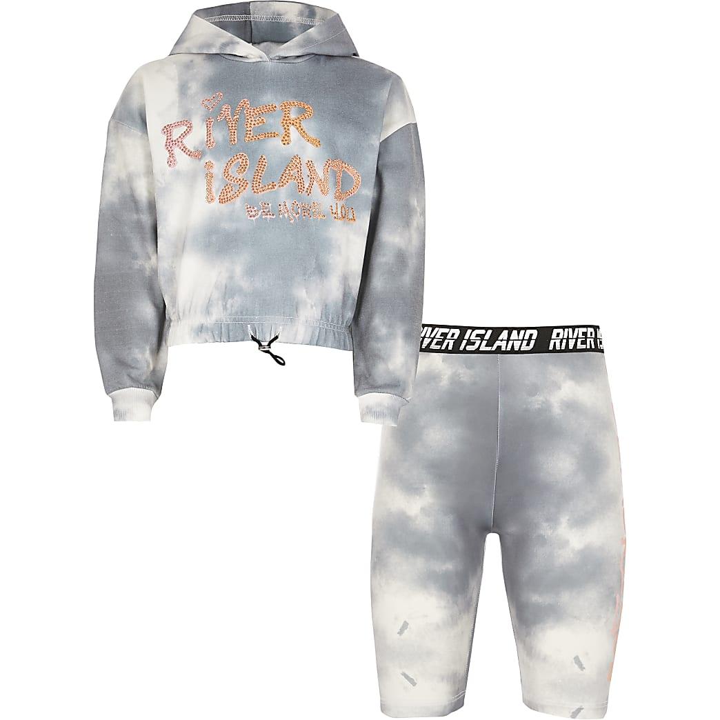 Girls grey RI Active tie dye hoodie outfit