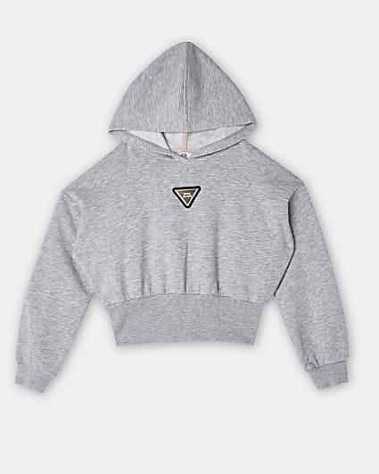 Girls grey RI badge hoodie