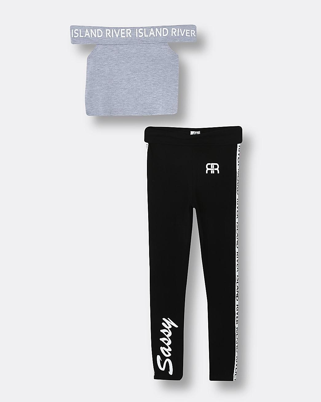 Girls grey RI bardot crop top and leggings