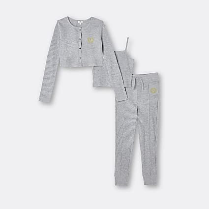 Girls grey RI cardigan and cami top outfit
