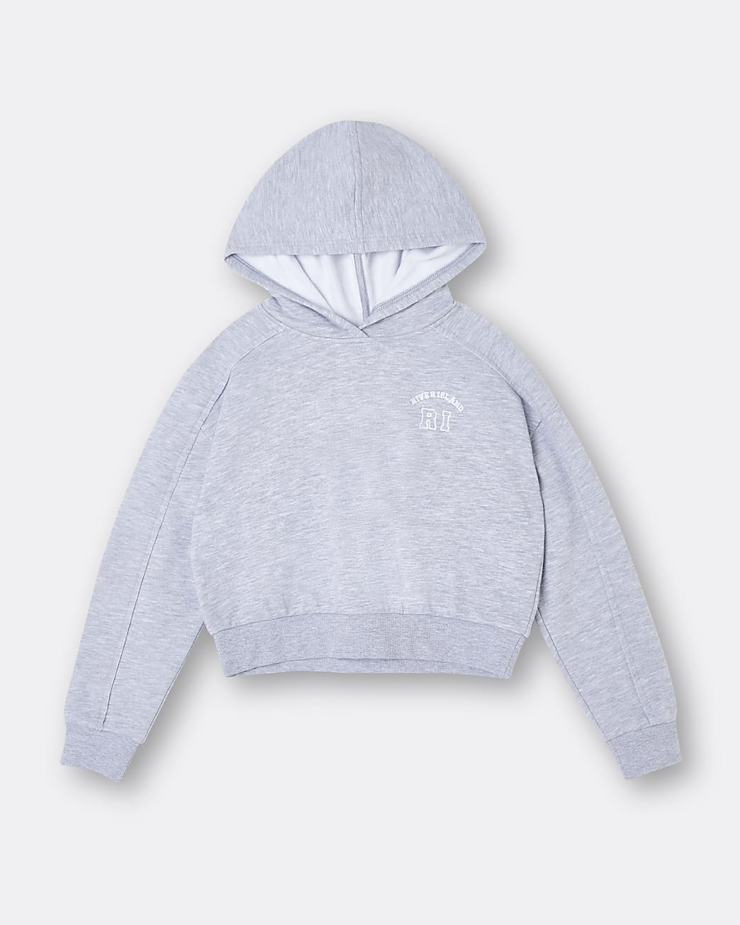 Girls grey RI chest embroidered hoodie