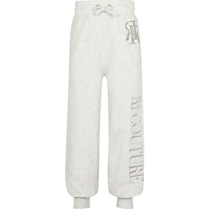 Girls grey RI Couture embellished joggers