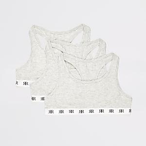 Set van 3 grijze cropped tops met RI-print voor meisjes